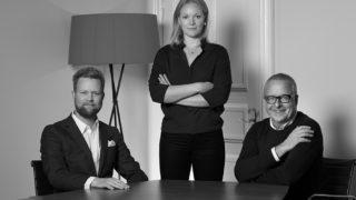 Erik Johnsson, Sofia Røsand och Leif Fågelstedt på Aino Health Sweden. Foto: Johan Töpel
