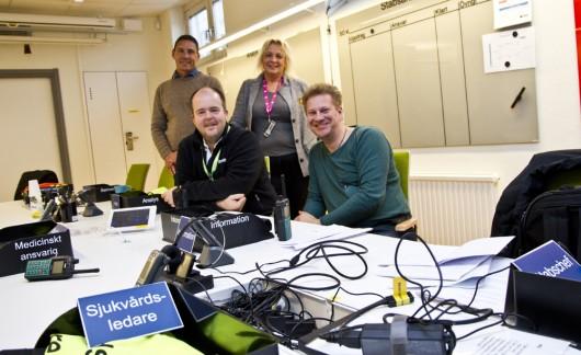 Från vänster: Jonas Löf, Rakelägare och ansvarig för förvaltningsplanering, Leonard Isaksson, Rakelförvaltare, Agneta Carlsson, beredskapsstrateg och Stefan Ahlrik, pressekreterare.