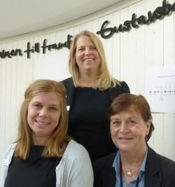 Sofia Vogel, Projektledare Gustavsbergsprojektet, Karin Jöback, Avdelningschef Tillväxtavdelningen och Majken Elfström, VA- och renhållningschef.