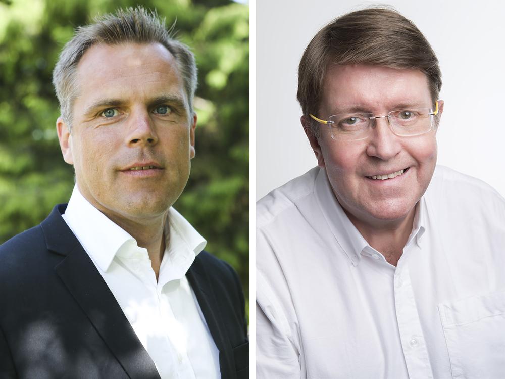 Peter Svensk, Doro Care Business Director och Conny Callin, marknadschef på SKL Kommentus.